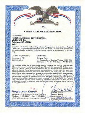 Mẫu giấy chứng nhận FDA
