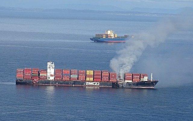 Cháy tàu container ở eo biển Juan de Fuca