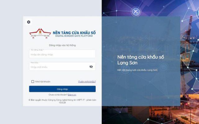 Website nền tảng cửa khẩu số của Lạng Sơn.