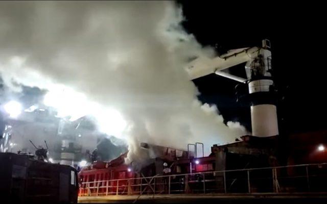 cháy tàu tại cảng Ploce ở Croatia